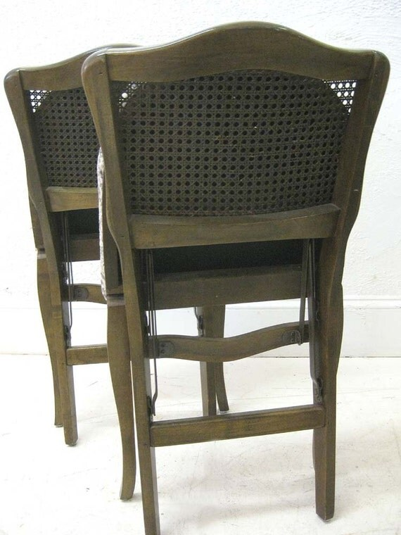 Pair Of French Style Caned Back Folding Chairs Silk Persian