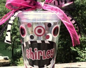 Zebra and Sparkle Pink Personalized Acrylic Tumbler