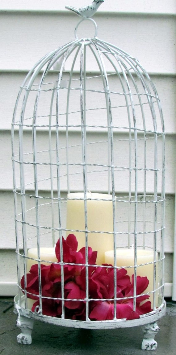 White Bird Cage Birdcage Metal Candleholder Distressed Vintage Look Rustic Wedding Candle Pedestal Shabby Chic