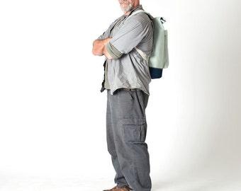 Pearl Grey body/Navy base Roll Top Backpack (Medium)