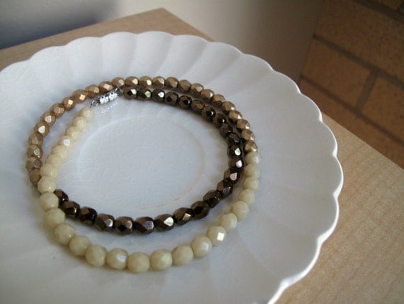 Simple Strand of Beads: ombre czech glass bead necklace in bronze