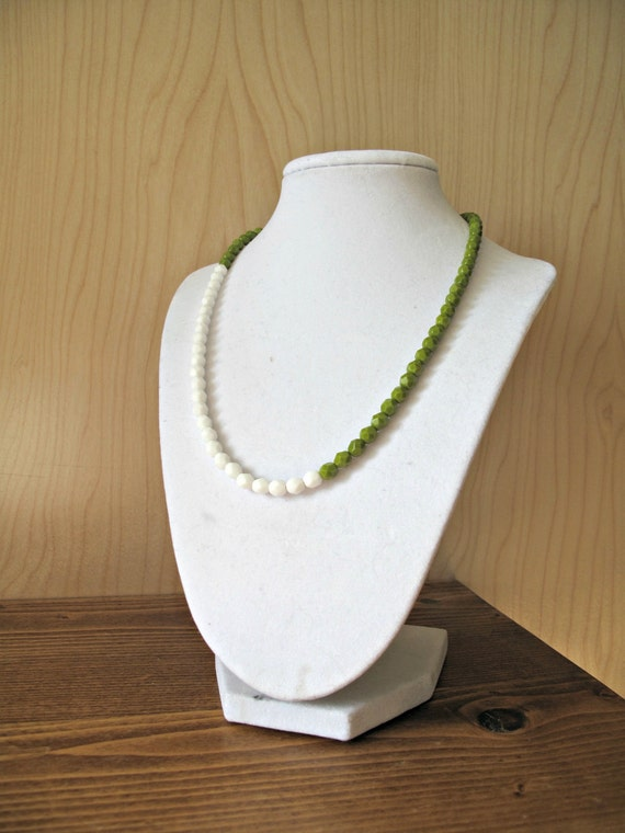 Simple Strand of Beads: color block czech glass bead necklace in olive and white