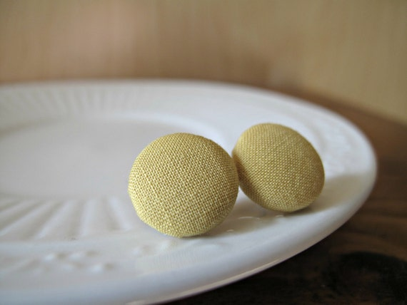 All Buttoned Up: fabric-covered earrings made with vintage fabric - solid yellow