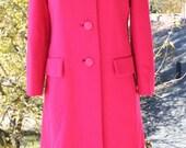 Vintage 60's Bright Fuschia Saks Fifth Ave Mod Coat