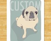 Custom Dog Portrait by Kari Egan of Pop Doggie - Custom Dog Art, Custom Cat Portrait Art, Custom Pet Drawing