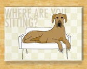 Great Dane Fridge Magnet - Where Are You Sitting - Fawn Great Dane Gifts Refrigerator Dog Fridge Magnets