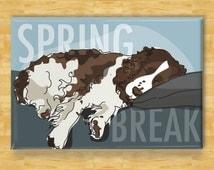 Refrigerator Magnet with Springer Spaniel - Spring Break - Springer Spaniel Gifts Fridge Dog Refrigerator Magnet