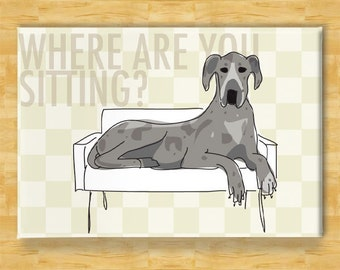 Dog Magnet with Great Dane - Where Are You Sitting - Blue Merle Great Dane Gifts Refrigerator Fridge Dog Magnets