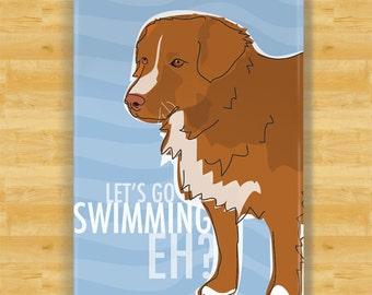 Funny Magnet with Nova Scotia Duck Tolling Retriever - Lets Go Swimming Eh - Nova Scotia Duck Tolling Retriever Gifts Funny Magnets