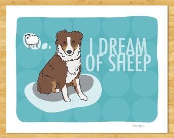 Australian Shepherd Art Print - I Dream of Sheep - Red Brown Australian Shepherd Gifts Dog Art