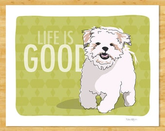 Shih Tzu Art Print - Life is Good - Dog Pop Art Prints Shih Tzu Gifts