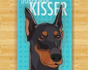 Doberman Pinscher Magnet - Doberman Kisser - Black Doberman with Cropped Ears Gifts Dog Fridge Refrigerator Magnets