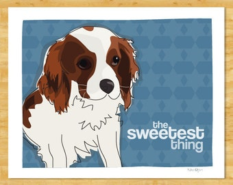 Cavalier King Charles Spaniel Art Print - The Sweetest Thing - Blenheim Cavalier King Charles Spaniel Gifts Dog Art