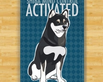 Fridge Magnets with Shiba Inu - Shiba Mind Control Activated - Black and Tan Shiba Inu Gifts Refrigerator Dog Fridge Magnets
