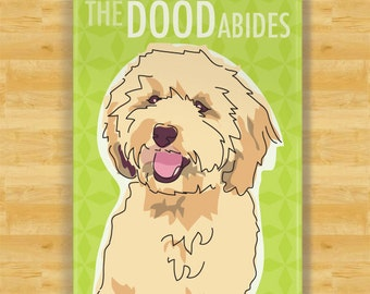 Labradoodle Magnet - The Dood Abides or The Dude Abides - Tan Cream Labradoodle Gifts Dog Fridge Refrigerator Magnets