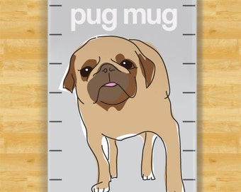 Pug Magnet - Pug Mug - Fawn Pug Dog Refrigerator Fridge Magnets