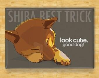 Funny Dog Magnet with Shiba Inu - Shiba Best Trick - Shiba Inu Gifts Refrigerator Fridge Funny Dog Magnets