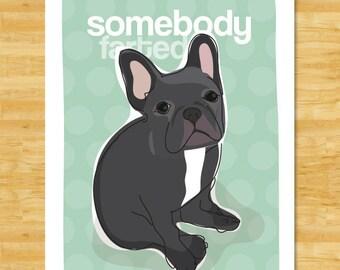 Black French Bulldog Art Print - Somebody Farted - Black French Bulldog Gifts