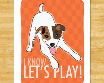 Jack Russell Terrier Art Print - Lets Play - Jack Russell Terrier Gifts Dog Pop Art