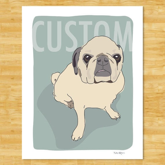 Custom Dog Portrait by Kari Egan of Pop Doggie - Custom Dog Art, Custom Cat Portrait Art, Custom Pet Drawing