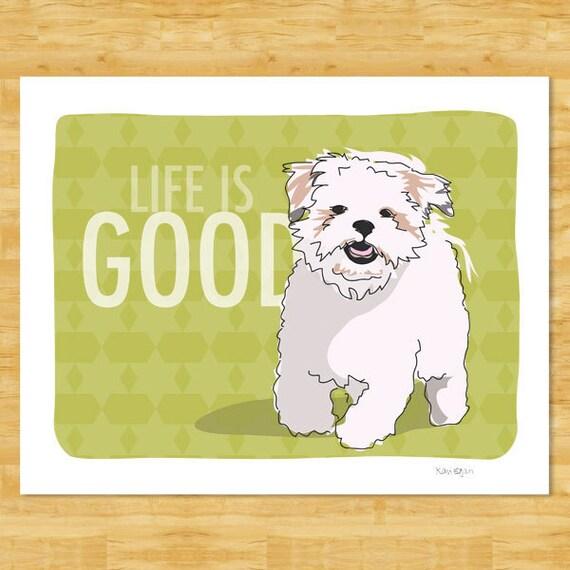 Shih Tzu Art Print - Life is Good - Dog Pop Art Prints Shih Tzu Gifts