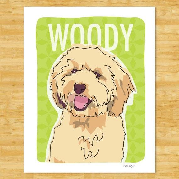 Personalized Labradoodle Print Dog Pop Art - Cream Chalk Chocolate or Black Labradoodle Custom Dog Art Gifts