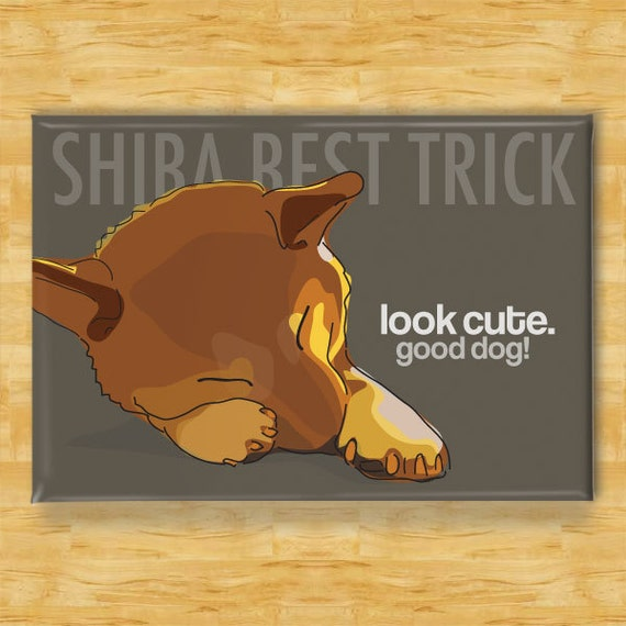 Funny Dog Magnet with Shiba Inu - Shiba Best Trick - Shiba Inu Gifts Refrigerator Fridge Funny Dog Magnets