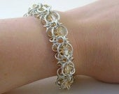Sterling Silver Chainmaille Bracelet with Peach Swarovski Crystals