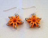 Orange Star Sterling Silver Earrings