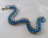 Blue and Bright Aluminum Persian Bracelet Chainmaille