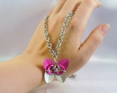 Pink & Silver Butterfly Pendant and Chainmaille Necklace