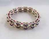 White, Purple & Pink Stretchy Butterfly Pattern Chainmaille Bracelet