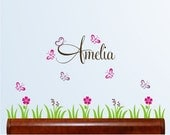 Personalized Name with Flowers, butterflies and grass, nursery, kids & teens room, custom removable decals stickers