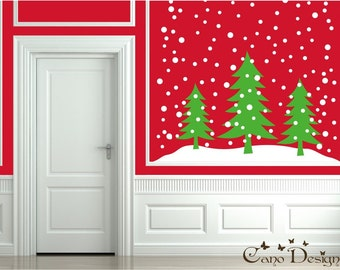 Holiday trees vinyl decal- Christmas tree vinyl decal sticker