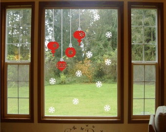 Ornaments and Snowflakes Vinyl decals, Holidays Decorations Stickers, Window Decoration Decals