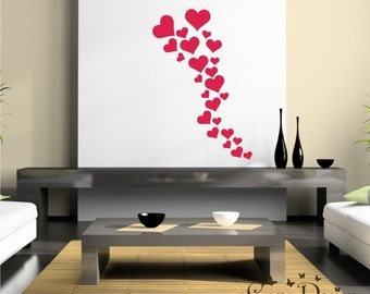 25 Hearts 5 sizes - Valentine's Vinyl Decals Stikers For Walls, Windows, Glass, Cars, Mirrors and More
