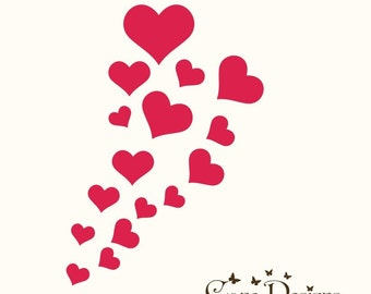 16 Hearts 5 sizes - Valentine's Vinyl Decals Stikers For Walls, Windows, Glass, Cars, Mirrors and More