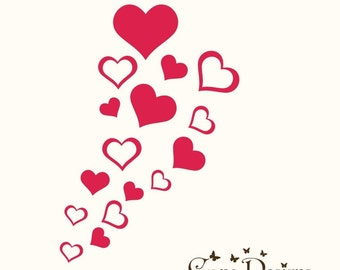 16 Hearts 5 sizes 2 designs - Valentine's Vinyl Decals Stikers For Walls, Windows, Glass, Cars, Mirrors and More