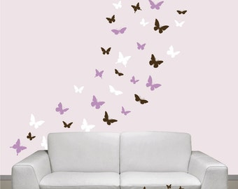 Butterflies Set of 36, 3 colors, Vinyl wall decals, living room, nursery, kids & teens room, removable decals stickers