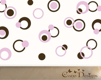 Dots & Rings, 1 color, Vinyl decals, living room, nursery, kids room, teens room, removable decals stickers