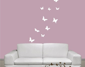 Butterflies Set of 12, 1 color, vinyl wall decals, living room, nursery, kids & teens room, removable decals stickers