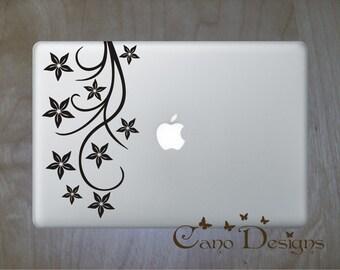 Floral Laptop Skin Vinyl Decal - Branch Vinyl decal sticker, flowers decals stickers