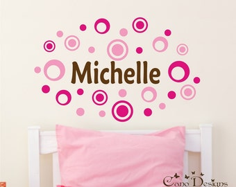 Personalized Name With Dots and Rings, Custom Vinyl wall decals stickers, nursery, kids & teens room, removable decals stickers