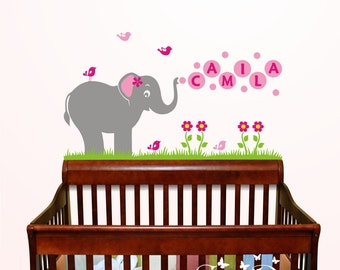 Cute Elephant and Birds with Custom Name Vinyl Wall Decal, Playroom, nursery, kids room, removable decals stickers
