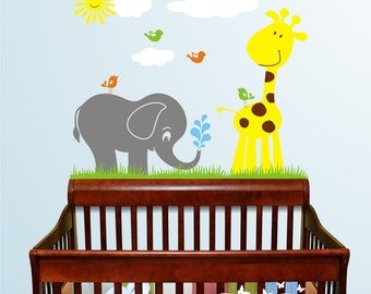 Cute Animals Vinyl Wall Decal, Playroom, nursery, kids room, removable decals stickers