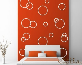 Circle Rings Vinyl Decals- Vinyl wall decals stickers, kids room, nursery, children stickers, bubbles, rings, Polka dots