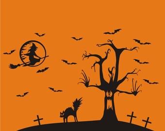 Halloween Scene vinyl decal, Halloween  vinyl wall window removable decals stickers