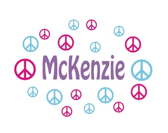 Personalized Name With peace signs, Custom Vinyl wall decals stickers, nursery, kids & teens room, removable decals stickers