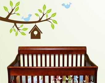 Branch with Birds and Birdhouse Vinyl Wall Decal, nursery, kids room, removable wall decal set