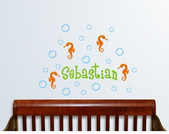 Personalized Name with Seahorses and water bubbles , Custom Vinyl wall decals stickers, nursery, kids & teens room, removable stickers